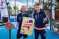 Netherlands, September 6,  2020, Amsterdam, Padel Dam, NK Padel, National Padel Championships, Men's doubles final: Winners Uriël Maarsen (NED) and Bram Meijer (NED) (L)<br /> Photo: Henk Koster/tennisimages.com