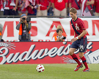 USA defender   Clarence Goodson (21). In a friendly match, Spain defeated USA, 4-0, at Gillette Stadium on June 4, 2011.