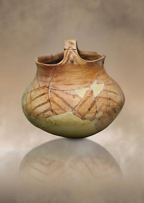 Chalcolithic decorated terra cotta basket pot. Circa 5000BC. Catalhoyuk collection, Konya Archaeological Museum, Turkey