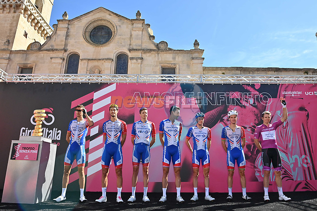 Maglia Ciclamino French Champion Arnaud Demare (FRA) and Groupama-FDJ at sign on before the start of Stage 7 of the 103rd edition of the Giro d'Italia 2020 running 143km from Matera to Brindisi, Sicily, Italy. 9th October 2020.  <br /> Picture: LaPresse/Massimo Paolone | Cyclefile<br /> <br /> All photos usage must carry mandatory copyright credit (© Cyclefile | LaPresse/Massimo Paolone)