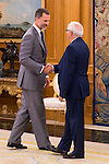 King Felipe VI of Spain and the President of the Government of Melilla, Juan José Imbroda Ortíz during Royal Audience at Zarzuela Palace in Madrid, July 29, 2015. <br /> (ALTERPHOTOS/BorjaB.Hojas)