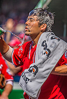8 June 2013: Washington Nationals catcher Kurt Suzuki cools down with some water in the dugout prior to a game against the Minnesota Twins at Nationals Park in Washington, DC. The Twins edged out the Nationals 4-3 in 11 innings. Mandatory Credit: Ed Wolfstein Photo *** RAW (NEF) Image File Available ***