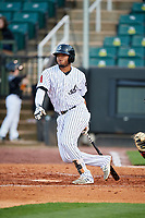 Jackson Generals shortstop Dawel Lugo (31) follows through on a swing during a game against the Chattanooga Lookouts on April 27, 2017 at The Ballpark at Jackson in Jackson, Tennessee.  Chattanooga defeated Jackson 5-4.  (Mike Janes/Four Seam Images)