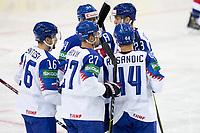 23rd May 2021, Riga Olympic Sports Centre Latvia; 2021 IIHF Ice hockey, Eishockey World Championship, Great Britain versus Slovakia;  Slovakia open the scores from 27 Marek Hrivik Slovakia and celebrates.