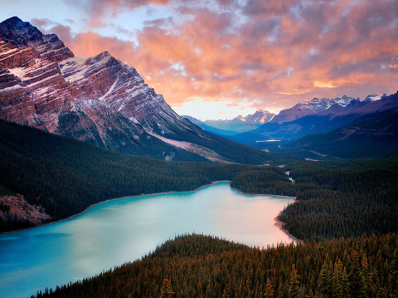 Peyto Lake at sunrise. Banff National Park, Alberta Canada.