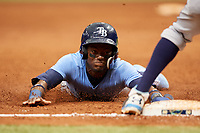 Vidal Brujan (2) slides into third base during the Tampa Bay Rays Instructional League Intrasquad World Series game on October 3, 2018 at the Tropicana Field in St. Petersburg, Florida.  (Mike Janes/Four Seam Images)