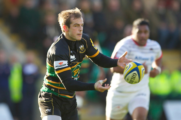 20121027 Copyright onEdition 2012©.Free for editorial use image, please credit: onEdition..Stephen Myler of Northampton Saints passes during the Aviva Premiership match between Northampton Saints and Saracens at Franklin's Gardens on Saturday 27th October 2012 (Photo by Rob Munro)..For press contacts contact: Sam Feasey at brandRapport on M: +44 (0)7717 757114 E: SFeasey@brand-rapport.com..If you require a higher resolution image or you have any other onEdition photographic enquiries, please contact onEdition on 0845 900 2 900 or email info@onEdition.com.This image is copyright the onEdition 2012©..This image has been supplied by onEdition and must be credited onEdition. The author is asserting his full Moral rights in relation to the publication of this image. Rights for onward transmission of any image or file is not granted or implied. Changing or deleting Copyright information is illegal as specified in the Copyright, Design and Patents Act 1988. If you are in any way unsure of your right to publish this image please contact onEdition on 0845 900 2 900 or email info@onEdition.com