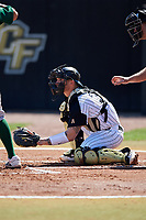 UCF Knights catcher Jordan Rathbone (34) during a game against the Siena Saints on February 17, 2019 at John Euliano Park in Orlando, Florida.  UCF defeated Siena 7-1.  (Mike Janes/Four Seam Images)