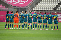 KASHIMA, JAPAN - JULY 27: Australia stands at attention during the national anthem before a game between Australia and USWNT at Ibaraki Kashima Stadium on July 27, 2021 in Kashima, Japan.