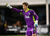 LAKE BUENA VISTA, FL - JULY 26: Thomas Hasal of Vancouver Whitecaps FC directs his defense during a game between Vancouver Whitecaps and Sporting Kansas City at ESPN Wide World of Sports on July 26, 2020 in Lake Buena Vista, Florida.