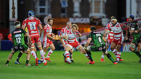 Billy Twelvetrees of Gloucester Rugby looks for space in a crowded midfield during the European Rugby Challenge Cup semi final match between Gloucester Rugby and Exeter Chiefs at Kingsholm Stadium on Saturday 18th April 2015 (Photo by Rob Munro)