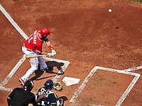 23 August 2009: Washington Nationals' All-Star third baseman Ryan Zimmerman in action against the Milwaukee Brewers at Nationals Park in Washington, DC. The Nationals defeated the Brewers 8-3 to take the third game of their four-game series, snapping a five games losing streak. Mandatory Credit: Ed Wolfstein Photo
