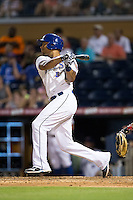 Desmond Jennings (13) of the Durham Bulls follows through on his swing against the Indianapolis Indians at Durham Bulls Athletic Park on August 4, 2015 in Durham, North Carolina.  The Indians defeated the Bulls 5-1.  (Brian Westerholt/Four Seam Images)
