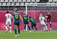 KASHIMA, JAPAN - JULY 27: Alyssa Naeher #1 of the USWNT catches the ball during a game between Australia and USWNT at Ibaraki Kashima Stadium on July 27, 2021 in Kashima, Japan.