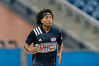 FOXBOROUGH, MA - AUGUST 7: Isaac Angking #5 of New England Revolution II during a game between Orlando City B and New England Revolution II at Gillette Stadium on August 7, 2020 in Foxborough, Massachusetts.