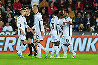 Wayne Routledge of Swansea City celebrates scoring his side's sixth goal with team mates during the Carabao Cup Second Round match between Swansea City and Cambridge United at the Liberty Stadium in Swansea, Wales, UK. Wednesday 28, August 2019.