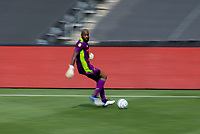 LOS ANGELES, CA - AUGUST 22: Kenneth Vermeer #1 GK of LAFC moves with the ball during a game between Los Angeles Galaxy and Los Angeles FC at Banc of California Stadium on August 22, 2020 in Los Angeles, California.