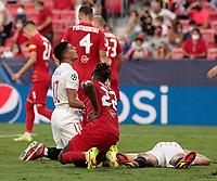 14th September 2021; Sevilla, Spain: UEFA Champions League football, Sevilla FC versus RB Salzburg; Erik Lamela of Sevilla sees his attempt block by Oumar Solet of Salzburg
