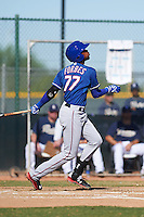 Texas Rangers Ti'Quan Forbes (77) during an instructional league game against the San Diego Padres on October 9, 2015 at the Surprise Stadium Training Complex in Surprise, Arizona.  (Mike Janes/Four Seam Images)