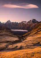 Dawn over Southern Alps with Mount Copland and Little Peak, Westland Tai Poutini National Park, UNESCO World Heritage Area, West Coast, New Zealand, NZ