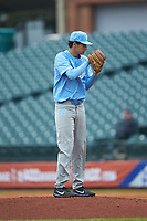 North Carolina Tar Heels relief pitcher Austin Bergner (45) looks to his catcher for the sign against the Boston College Eagles in Game Five of the 2017 ACC Baseball Championship at Louisville Slugger Field on May 25, 2017 in Louisville, Kentucky. The Tar Heels defeated the Eagles 10-0 in a game called after 7 innings by the Mercy Rule. (Brian Westerholt/Four Seam Images)