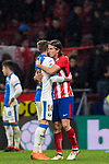 Filipe Luis of Atletico de Madrid and Raul Garcia Carnero, Raul C, of CD Leganes hug each other after the La Liga 2017-18 match between Atletico de Madrid and CD Leganes at Wanda Metropolitano on February 28 2018 in Madrid, Spain. Photo by Diego Souto / Power Sport Images