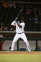 Mesa Solar Sox center fielder Daz Cameron (13), of the Detroit Tigers organization, at bat during an Arizona Fall League game against the Scottsdale Scorpions at Sloan Park on October 10, 2018 in Mesa, Arizona. Scottsdale defeated Mesa 10-3. (Zachary Lucy/Four Seam Images)