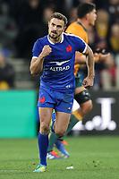 13th July 2021; AAMI Park, Melbourne, Victoria, Australia; International test rugby, Australia versus France; Melvyn Jaminet of France celebrates kicking a penalty.