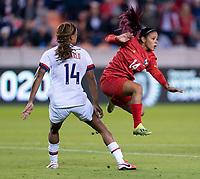 HOUSTON, TX - JANUARY 31: Jess McDonald #14 of the United States nearly fouls Maryorie Perez #14 of Panama during a game between Panama and USWNT at BBVA Stadium on January 31, 2020 in Houston, Texas.