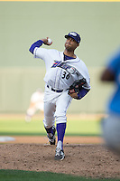 Winston-Salem Dash relief pitcher Peter Tago (36) in action against the Myrtle Beach Pelicans at BB&T Ballpark on May 9, 2015 in Winston-Salem, North Carolina.  The Pelicans defeated the Dash 3-2 in 10 innings in the first game of a double-header.  (Brian Westerholt/Four Seam Images)