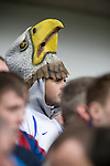 Sheffield Wednesday 2 Crystal Palace 2, 02/05/2010. Hillsborough. Championship. A Crystal Palace fan wearing an eagle mask at Hillsborough before his team's crucial last-day relegation match against Sheffield Wednesday. The match ended in a 2-2 draw which meant Wednesday were relegated to League 1. Crystal Palace remained in the Championship despite having been deducted 10 points for entering administration during the season. Photo by Colin McPherson.