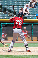 Hunter Morris (25) of the Nashville Sounds at bat against the Salt Lake Bees in Pacific Coast League action at Smith's Ballpark on June 22, 2014 in Salt Lake City, Utah.  (Stephen Smith/Four Seam Images)