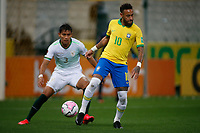 9th October 2020; Arena Corinthians, Sao Paulo, Sao Paulo, Brazil; FIFA World Cup Football Qatar 2022 qualifiers; Brazil versus Bolivia; Neymar of Brazil holds up the ball