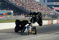 Sept. 3, 2011; Claremont, IN, USA: NHRA top fuel dragster driver Del Worsham during qualifying for the US Nationals at Lucas Oil Raceway. Mandatory Credit: Mark J. Rebilas-