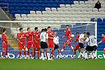 International Friendly match between Wales and Scotland at the new Cardiff City Stadium : Wales' Joe Ledley blocks Scotlands' James McFadden free kick.