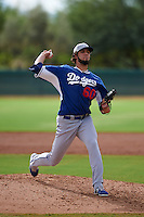 Los Angeles Dodgers pitcher Miguel Urena (60) during an instructional league game against the Cincinnati Reds on October 20, 2015 at Cameblack Ranch in Glendale, Arizona.  (Mike Janes/Four Seam Images)
