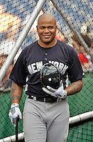15 June 2012: New York Yankees outfielder Andruw Jones awaits his turn in the batting cage prior to a game against the Washington Nationals at Nationals Park in Washington, DC. The Yankees defeated the Nationals 7-2 in the first game of their 3-game series. Mandatory Credit: Ed Wolfstein Photo