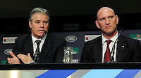 IRB CEO and RWCL Managing Director Brett Gosper and World Cup winner Lawrence Dallaglio during the Rugby World Cup 2015 Venues and Match Schedule Launch at Twickenham Stadium on Thursday 2nd May 2013 (Photo by Rob Munro)