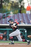 Matt Wessinger #9 of the Modesto Nuts bats against the Inland Empire 66ers at San Manuel Stadium on May 28, 2014 in San Bernardino, California. Modesto defeated Inland Empire, 3-2. (Larry Goren/Four Seam Images)