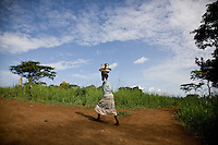 A child walking through Nyori refugee camp in South Sudan. 6,000 people have  fled to this camp since the LRA began attacking villages in Congo and kidnapping children and killing  people...