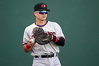 Catcher David Garcia (13) of the Hickory Crawdads before a game against the Greenville Drive on Friday, August 27, 2021, at Fluor Field at the West End in Greenville, South Carolina. (Tom Priddy/Four Seam Images)