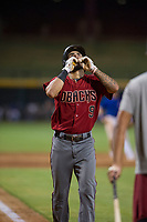 AZL Diamondbacks left fielder Didimo Bracho (9) celebrates as he crosses home plate after hitting a home run against the AZL Cubs on August 11, 2017 at Sloan Park in Mesa, Arizona. AZL Cubs defeated the AZL Diamondbacks 7-3. (Zachary Lucy/Four Seam Images)