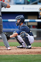 Syracuse Chiefs catcher Tuffy Gosewisch (11) waits to receive a pitch during a game against the Lehigh Valley IronPigs on May 20, 2018 at NBT Bank Stadium in Syracuse, New York.  Lehigh Valley defeated Syracuse 5-2.  (Mike Janes/Four Seam Images)