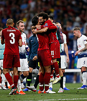 Virgil van Dijk of Liverpool and Mohamed Salah of Liverpool celebrate after the UEFA Champions League Final match between Tottenham Hotspur and Liverpool at Wanda Metropolitano on June 1st 2019 in Madrid, Spain. (Photo by Daniel Chesterton/phcimages.com)<br /> Foto Daniel Chesterton PHC/ Insidefoto <br /> ITALY ONLY