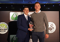 Pictured: Alfie Mawson (R) receives an award Wednesday 18 May 2017<br />Re: Swansea City FC, Player of the Year Awards at the Liberty Stadium, Wales, UK.