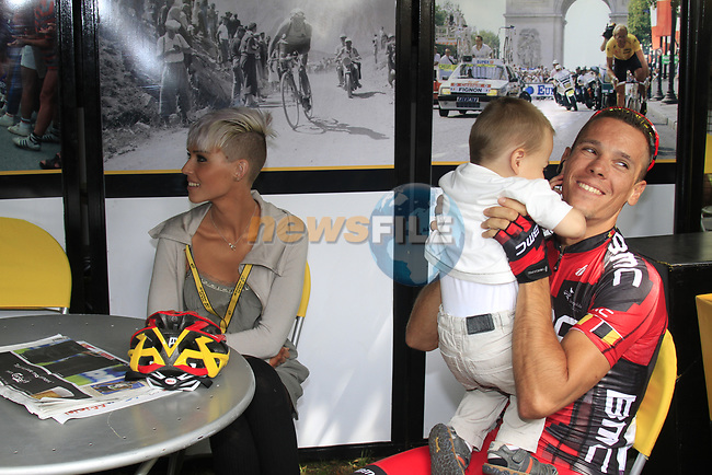 Philippe Gilbert (BEL) BMC Racing Team with wife Patricia and son Alain in the Tour Village before the start of Stage 1 of the 99th edition of the Tour de France, running 198km from Liege to Seraing starting in Parc d'Avroy Liege, Belgium. 1st July 2012.<br /> (Photo by Eoin Clarke/NEWSFILE)