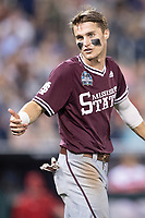 Mississippi State Bulldogs outfielder Jake Mangum (15) during Game 10 of the NCAA College World Series against the Louisville Cardinals on June 20, 2019 at TD Ameritrade Park in Omaha, Nebraska. Louisville defeated Mississippi State 4-3. (Andrew Woolley/Four Seam Images)