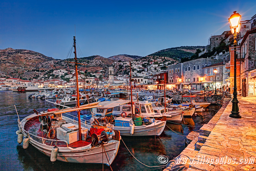 The picturesque harbor of Hydra in Greece by night