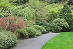 Secluded walksway in garden.  The Japanese Garden in Portland is a 5.5 acre respit.  Said to be one of the most authentic Japanese Garden's outside of Japan, the rolling terrain and water features symbolize both peace and strength. Public, city facility