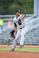 Pulaski Yankees starting pitcher Abel Duarte (45) in action against the Danville Braves at American Legion Post 325 Field on August 2, 2016 in Danville, Virginia.  The game was cancelled due to rain.  (Brian Westerholt/Four Seam Images)